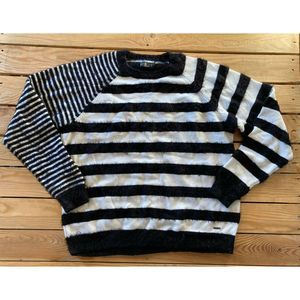 VOLCOM Striped Fuzzy Oversized Pullover Sweater L